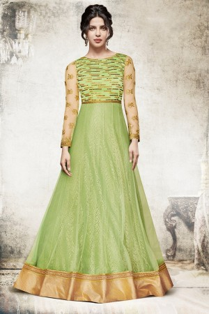 Priyanka Chopra Pista Green Net Heavy Embroidery Top with Embroidery Bottom Salwar Kameez
