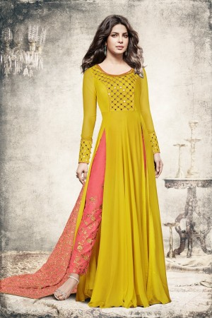 Priyanka Chopra Yellow Georgette Heavy Embroidery Top with Embroidery Bottom Salwar Kameez