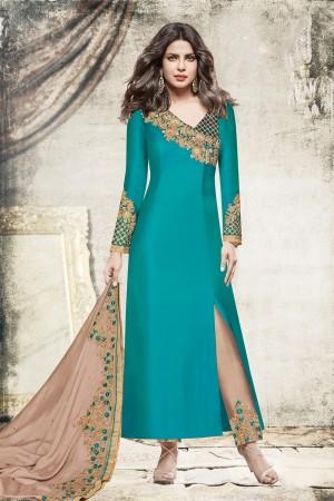 Priyanka Chopra Rama Green Satin Heavy Embroidery Top with Embroidery Bottom Salwar Kameez