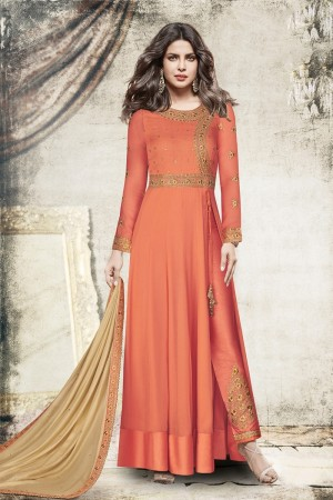 Priyanka Chopra Orange Georgette Heavy Embroidery Top with Embroidery Bottom Salwar Kameez