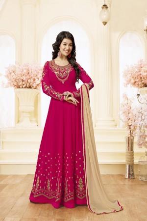 Ayesha Takia Rani pink Georgette Heavy Embroidery Thread and Zari Work on Neck and Sleeve with Embroidery Work Salwar Kameez