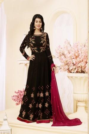 Ayesha Takia Black Georgette Heavy Embroidery Thread and Zari Work on Neck and Sleeve with Embroidery Work Salwar Kameez