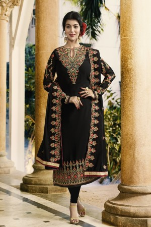 Ayesha Takia Black Faux Georgette Heavy Embroidery on Neck and Sleeve with Embroidery Dupatta Salwar Kameez