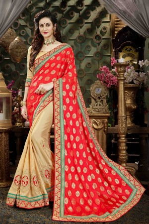 Ambitious RED & Beige Georgette & Silk Jari Embroidery  Work with Multi Embroidered lace border Saree
