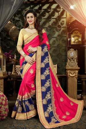 Astounding Rani Pink & Nevy Blue Art Silk Jari Embroidery  Work with Heavy  embroidered lace border Saree