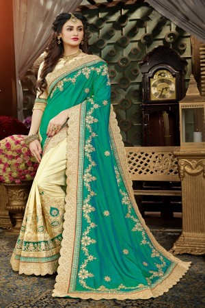 Ravishing Green & Beige Art Silk Jari Embroidery  Work with Heavy  embroidered lace border Saree