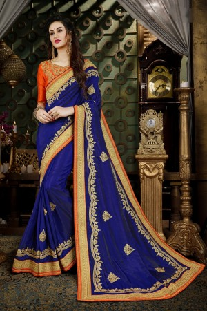 Dreamy Blue Art Silk Jari Embroidery  Work with Heavy  embroidered lace border Saree