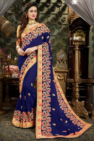 Classic Blue Georgette Jari Embroidery  and Thread Work with Heavy  embroidered lace border Saree