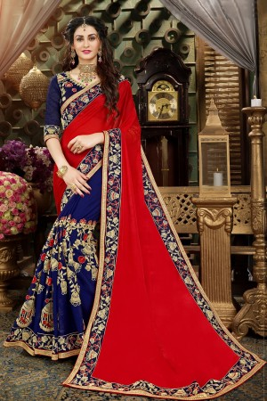 Fantastic Red & Blue Georgette Jari Embroidery  Work with Heavy  embroidered lace border Saree
