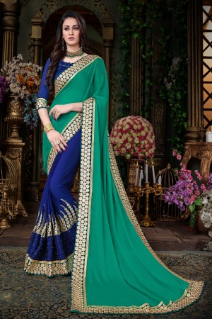 winsome Green & Blue Georgette  Jari Embroidery   lace border Work Saree