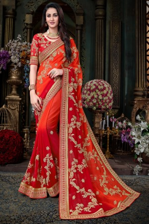 Resplendent Orange & Red Georgette  Jari Embroidery  Work with Heavy  embroidered lace border Saree