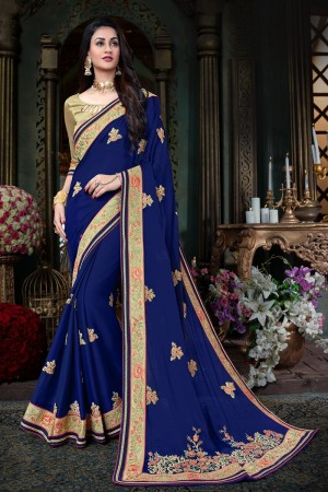 Miraculous  Blue Art Silk Jari Embroidery  Work with Heavy  embroidered lace border Saree