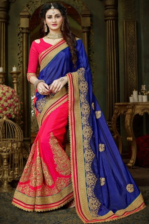 Princely Blue & Pink Art Silk Jari Embroidery  Work with Heavy  embroidered lace border Saree
