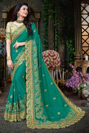 Blooming Green Georgette Jari Embroidery  and Thread Work with Heavy  embroidered lace border Saree