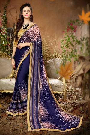 Delightful Blue Georgette Printed saree with Lace Border Saree