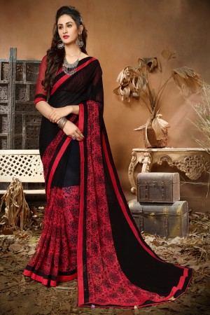 Staggering Red & Black Georgette Printed saree with Lace Border Saree