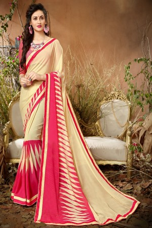 Vibrant Beige & Pink Georgette Printed saree with Lace Border Saree