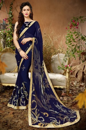 Marvelous  Blue Georgette Printed saree with Lace Border Saree