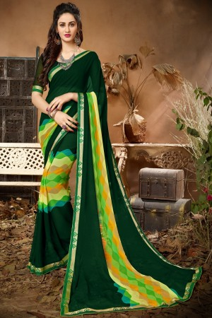 Charismatic  Green Georgette Printed saree with Lace Border Saree