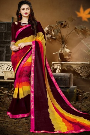 Pretty  Multi colour Georgette Printed saree with Lace Border Saree