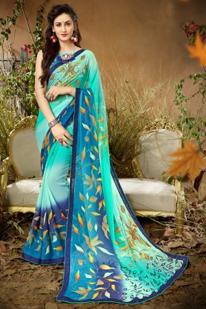 Glowing  Sky Blue Georgette Printed saree with Lace Border Saree