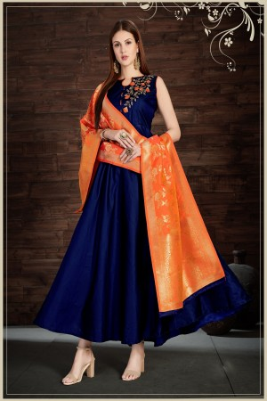 Rust Navy Blue Silk Heavy Zari, Sequance and Khatali work   stiched salwar suit