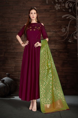 Impressive Wine Silk Heavy Zari, Sequance and Khatali work   stiched salwar suit