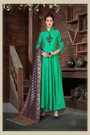 Peppy Green Silk Heavy Zari, Sequance and Khatali work   stiched salwar suit