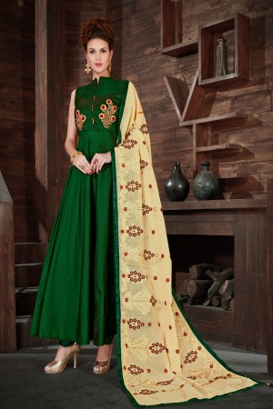 Fab Green Silk Heavy Zari, Sequance and Khatali work   stiched salwar suit