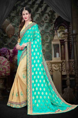 Charming Blue Georgette Heavy Zari Embroidery with Jacquad Pallu  Saree