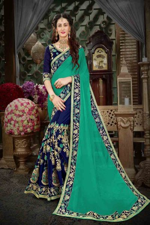 Dazzling Turquoise Georgette Heavy Zari Embroidery with Embroidered Lace Border  Saree