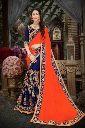 Awesome Orange Georgette Heavy Zari Embroidery with Embroidered Lace Border  Saree