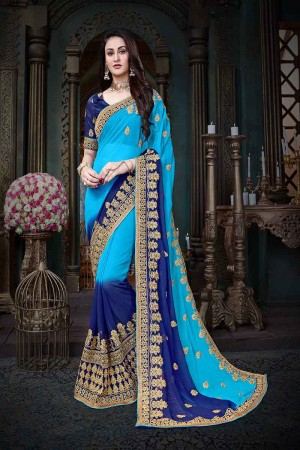 Eye catching Blue Georgette Heavy Zari Embroidery with Embroidered Lace Border  Saree
