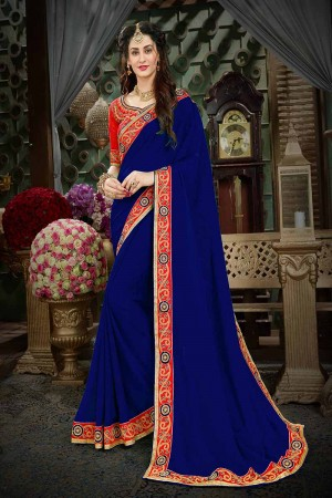 Dynamic Blue Georgette Zari Embroidered Lace Border with Embroidered Blouse  Saree