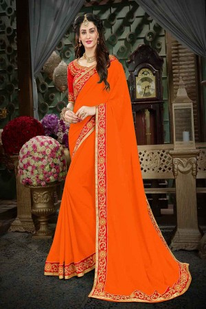Outstanding Orange Georgette Zari Embroidered Lace Border with Embroidered Blouse  Saree