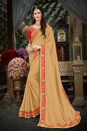 Delusive Beige Georgette Zari Embroidered Lace Border with Embroidered Blouse  Saree
