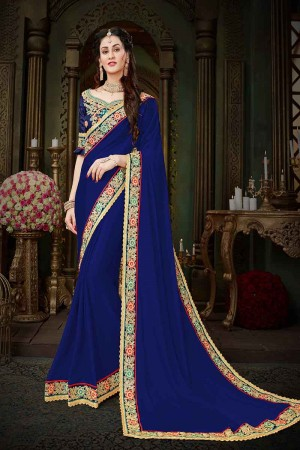 Blooming Blue Georgette Zari Embroidered Lace Border with Embroidered Blouse  Saree
