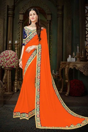 Definitive Orange Georgette Zari Embroidered Lace Border with Embroidered Blouse  Saree