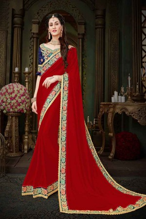 Affluent Red Georgette Zari Embroidered Lace Border with Embroidered Blouse  Saree