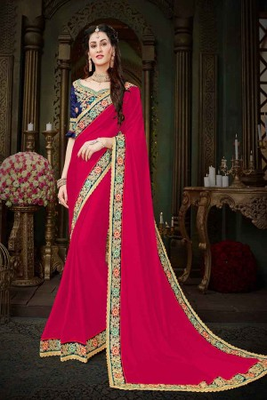 Decent Pink Georgette Zari Embroidered Lace Border with Embroidered Blouse  Saree