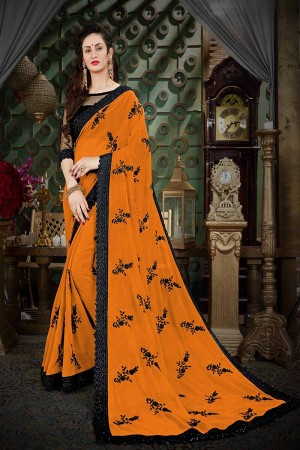 Contemporary Orange Georgette Thread Butta Embroidery with Plain Blouse Saree