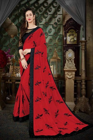Brilliant Red Georgette Thread Butta Embroidery with Plain Blouse Saree