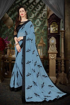 Creative Grey Georgette Thread Butta Embroidery with Plain Blouse Saree