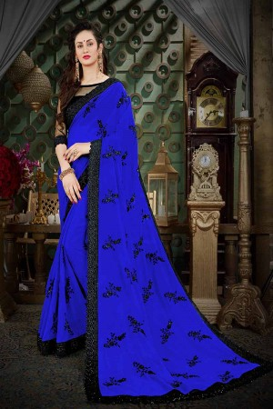 Enticing Blue Georgette Thread Butta Embroidery with Plain Blouse Saree