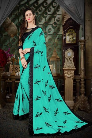 Striking Turquoise Georgette Thread Butta Embroidery with Plain Blouse Saree