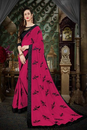 Enchanting Wine Georgette Thread Butta Embroidery with Plain Blouse Saree