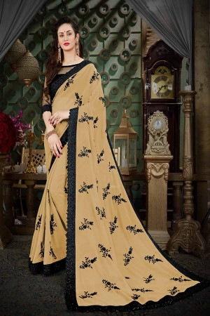 Mesmerising Beige Georgette Thread Butta Embroidery with Plain Blouse Saree