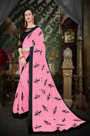 Ethereal Pink Georgette Thread Butta Embroidery with Plain Blouse Saree