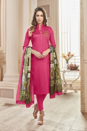 Desirable pink Jam Cotton Hand Work Butta on Top Salwar Kameez
