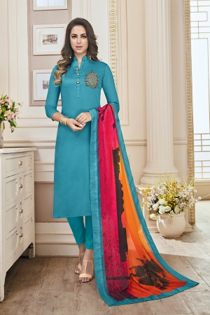 Designer Sky Jam Cotton Hand Work Butta on Top Salwar Kameez